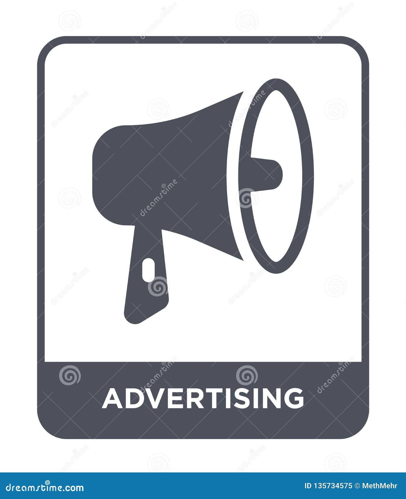 εικονίδιο διαφήμισης στο καθιερώνον τη μόδα ύφος σχεδίου Εικονίδιο διαφήμισης που απομονώνεται στο άσπρο υπόβαθρο διαφημιστικός τ