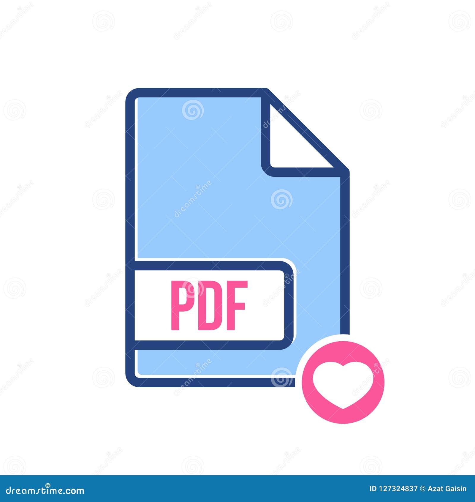 Εικονίδιο εγγράφων PDF, pdf επέκταση, εικονίδιο μορφής αρχείου με το σημάδι καρδιών Εικονίδιο εγγράφων PDF και αγαπημένος, όπως,