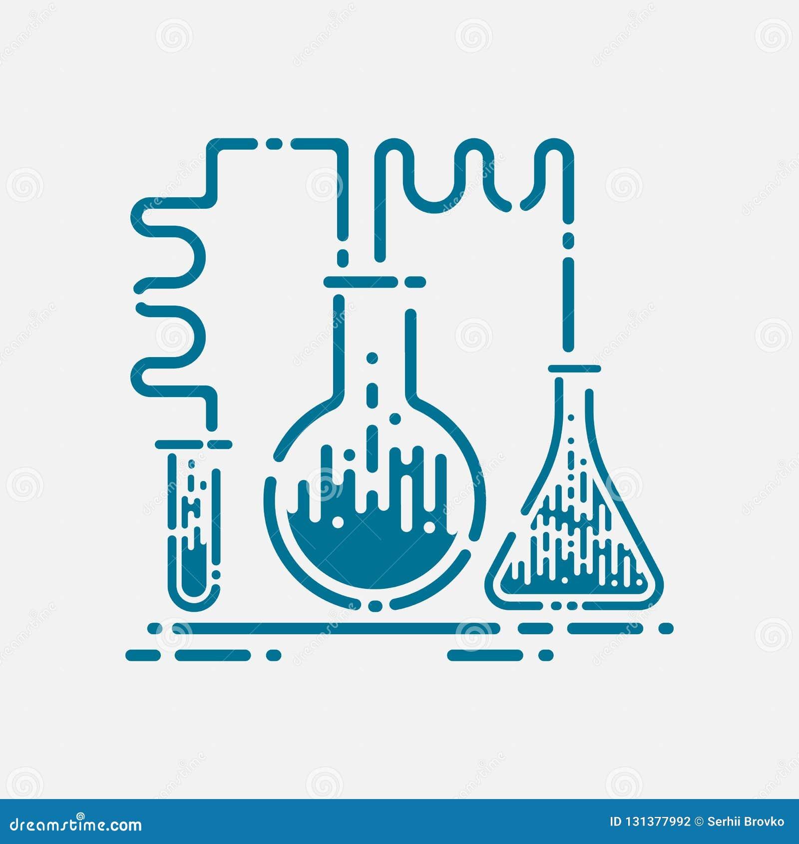Εικονίδιο εργαστηριακών σωλήνων - σύμβολο χημείας και επιστήμης - ιατρικός εξοπλισμός - επιστημονική εκπαίδευση