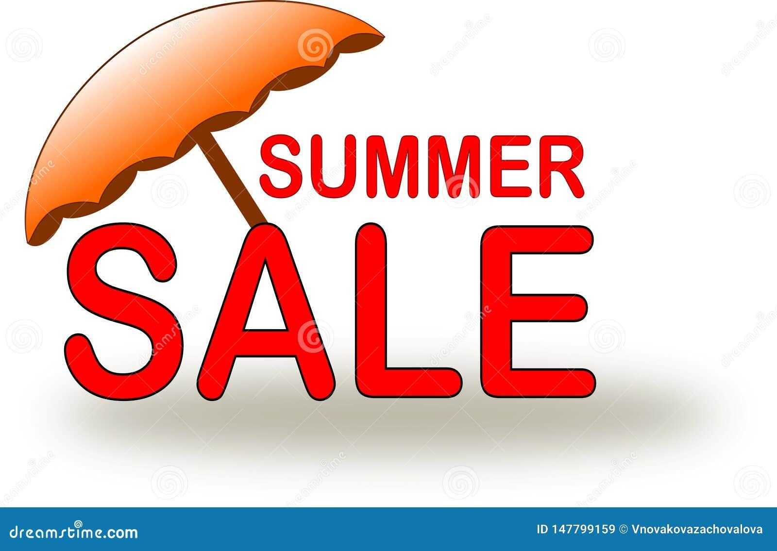 Εικονίδιο θερινής πώλησης με την πορτοκαλιά ομπρέλα παραλιών