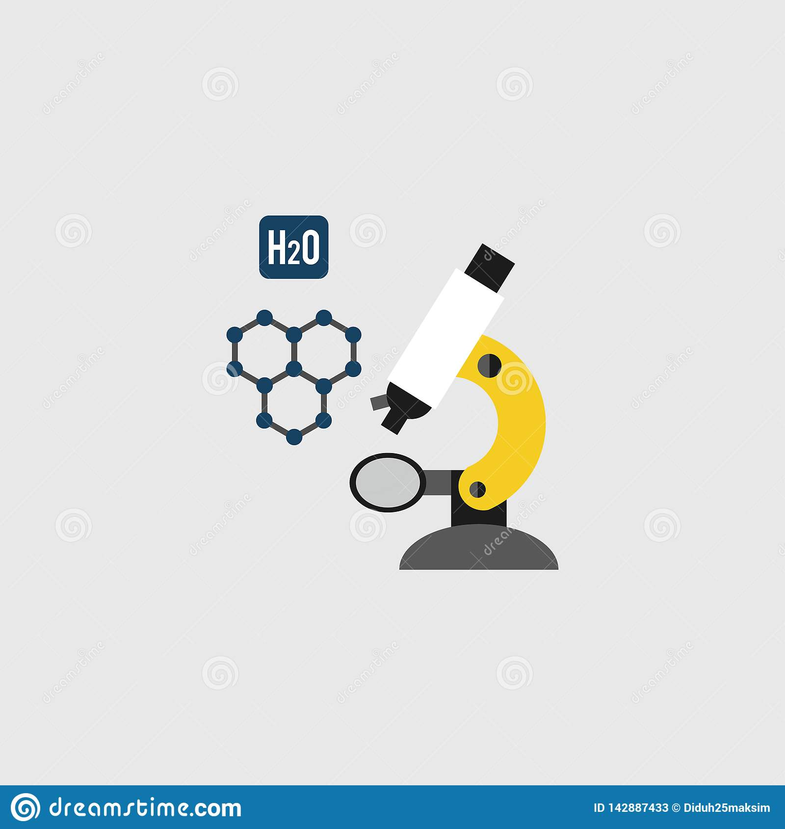 Εικονίδιο μικροσκοπίων, διανυσματική απεικόνιση επιστήμη εργαστήριο 10 eps