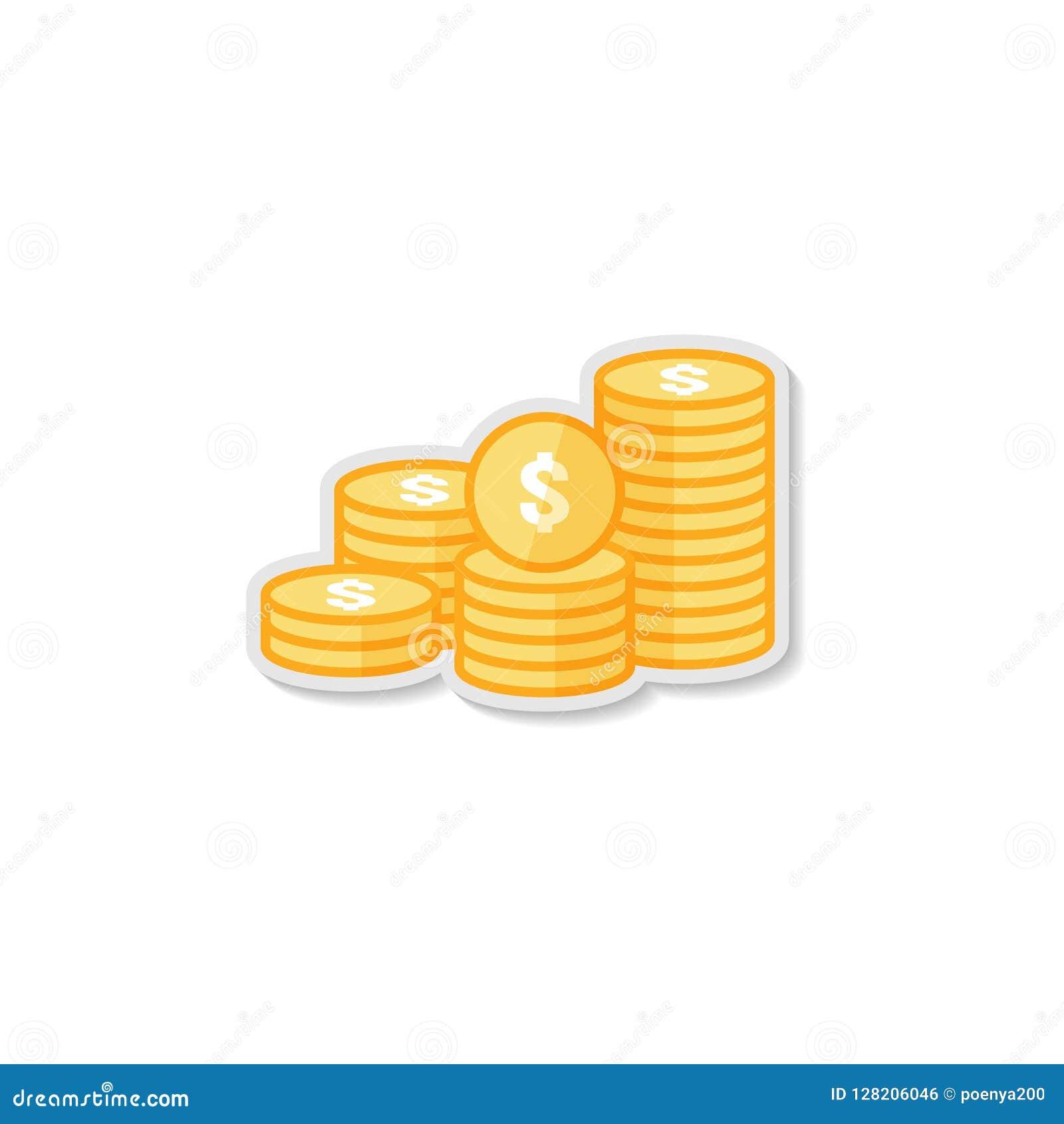 εικονίδιο νομισμάτων σωρών δολαρίων χρυσός χρυσός σωρός χρημάτων για τη χρηματοδότηση κέρδους έννοια αύξησης εμπορικής επένδυσης