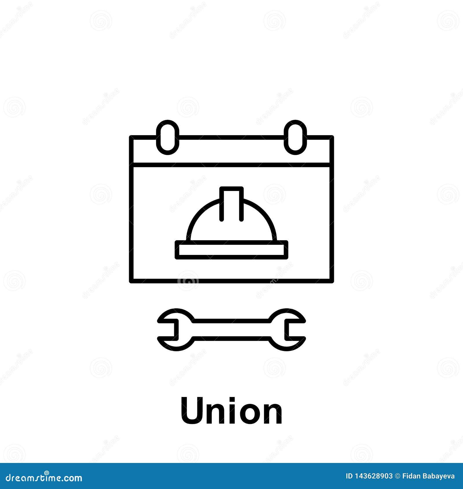 Εικονίδιο περιλήψεων ένωσης Στοιχείο του εικονιδίου απεικόνισης Εργατικής Ημέρας Τα σημάδια και τα σύμβολα μπορούν να χρησιμοποιη