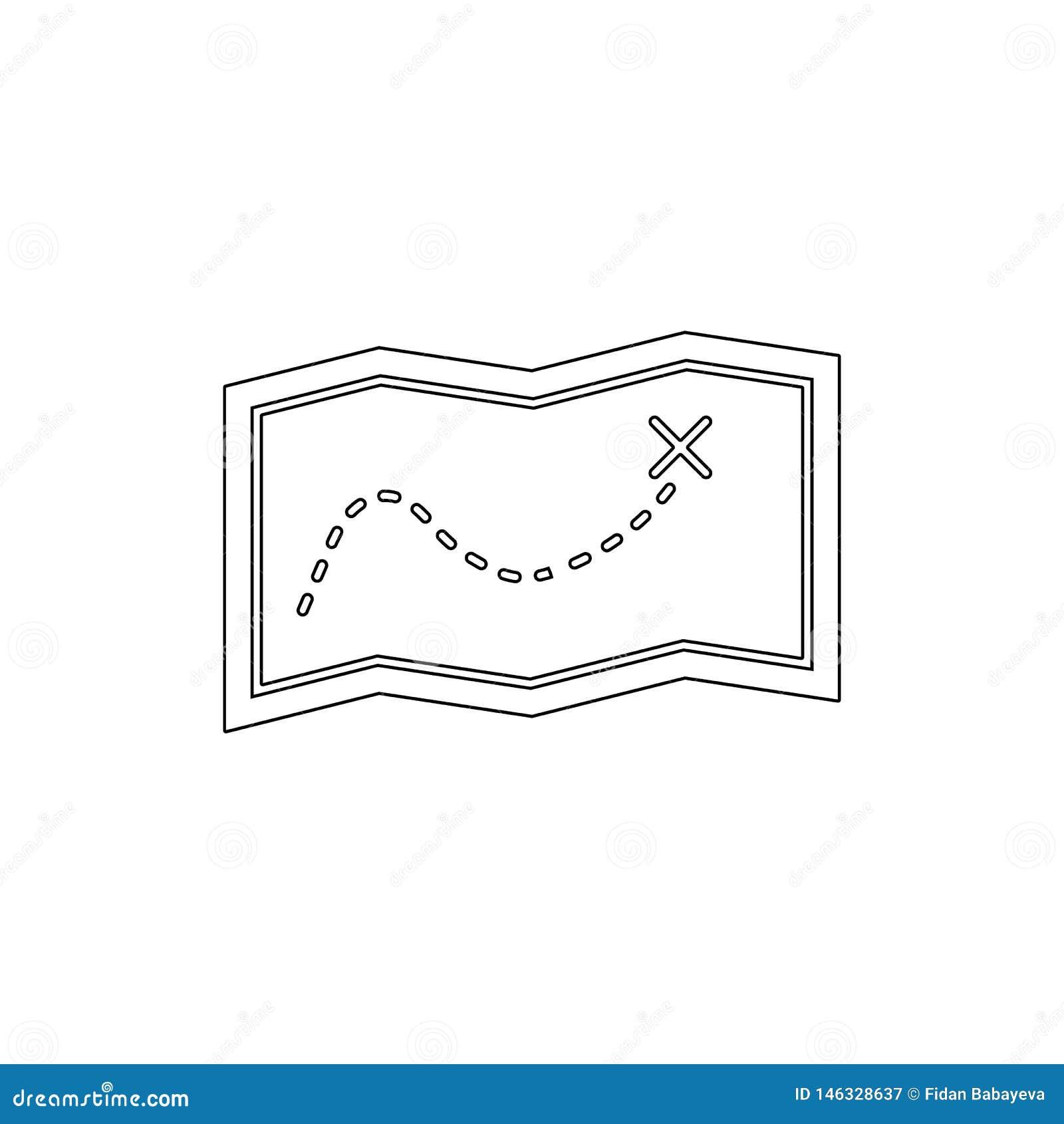 Εικονίδιο περιλήψεων διαδρομών ναυσιπλοΐας χαρτών χαρτών θέσης κατεύθυνσης E