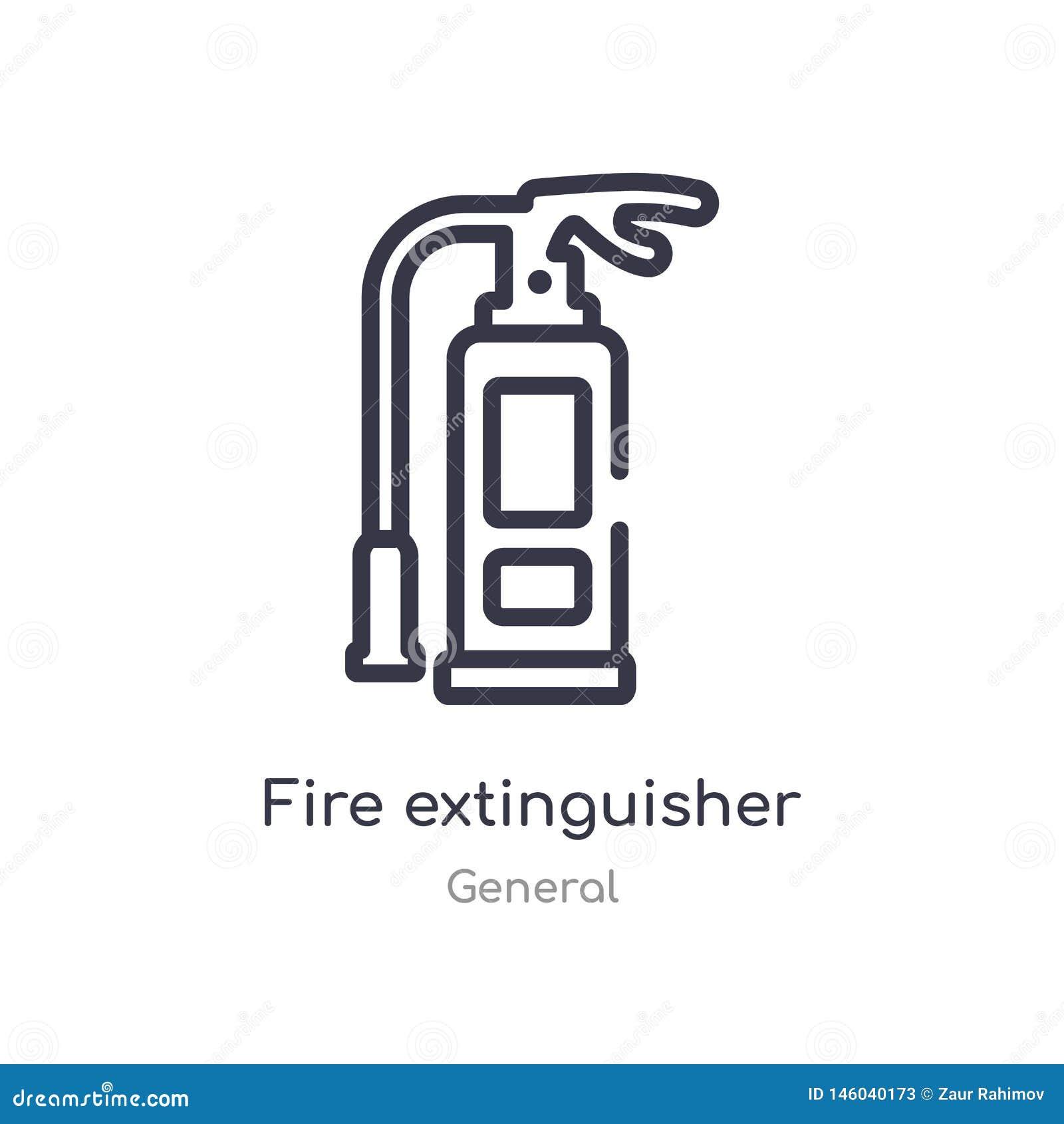 εικονίδιο περιλήψεων πυροσβεστήρων απομονωμένη διανυσματική απεικόνιση γραμμών από τη γενική συλλογή editable λεπτός πυροσβεστήρα