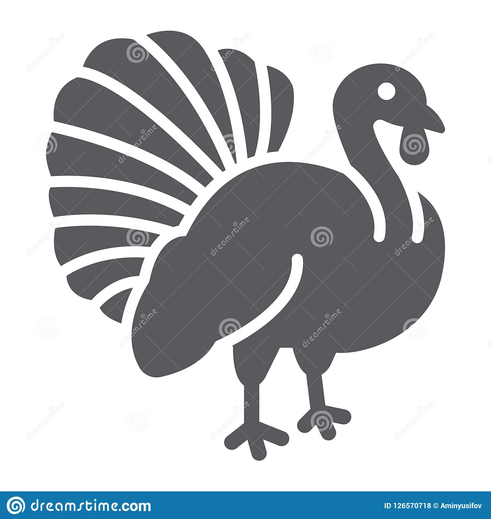 Εικονίδιο πουλιών της Τουρκίας glyph, ζώο και αγρόκτημα, σημάδι πουλερικών, διανυσματική γραφική παράσταση, ένα στερεό σχέδιο σε