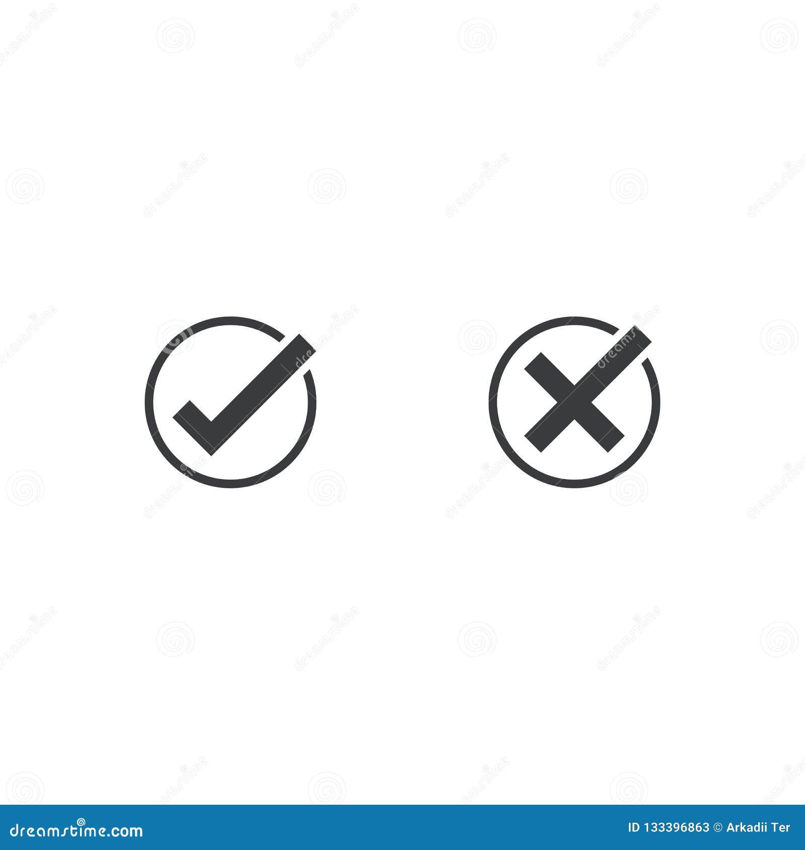 Εικονίδιο σημαδιών ελέγχου Εγκρίνετε και ακυρώστε το σύμβολο για το πρόγραμμα σχεδίου Επίπεδο κουμπί ναι και αριθ. κακό αγαθό Το