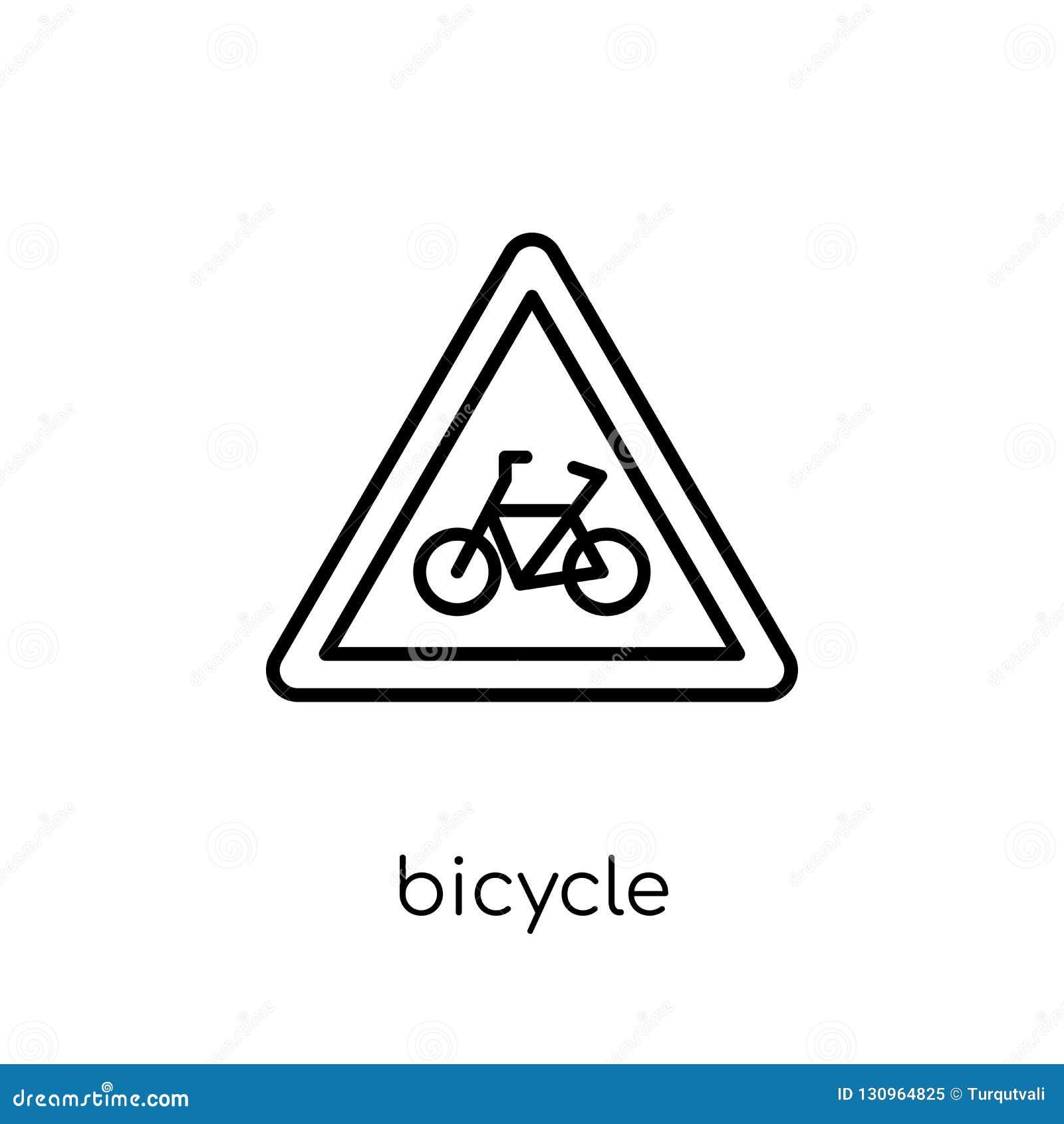 Εικονίδιο σημαδιών ποδηλάτων Καθιερώνον τη μόδα σύγχρονο επίπεδο γραμμικό διανυσματικό σημάδι ποδηλάτων