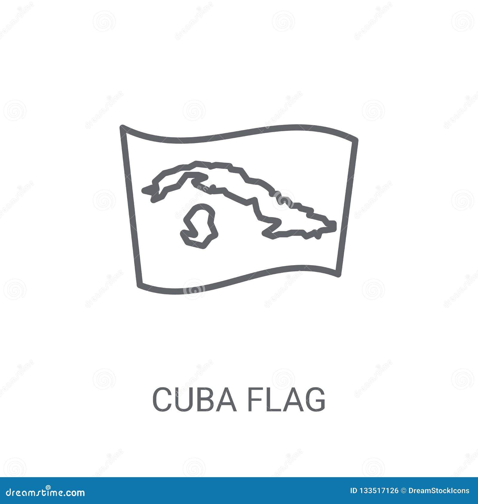 Εικονίδιο σημαιών της Κούβας Καθιερώνουσα τη μόδα έννοια λογότυπων σημαιών της Κούβας στο άσπρο backgroun