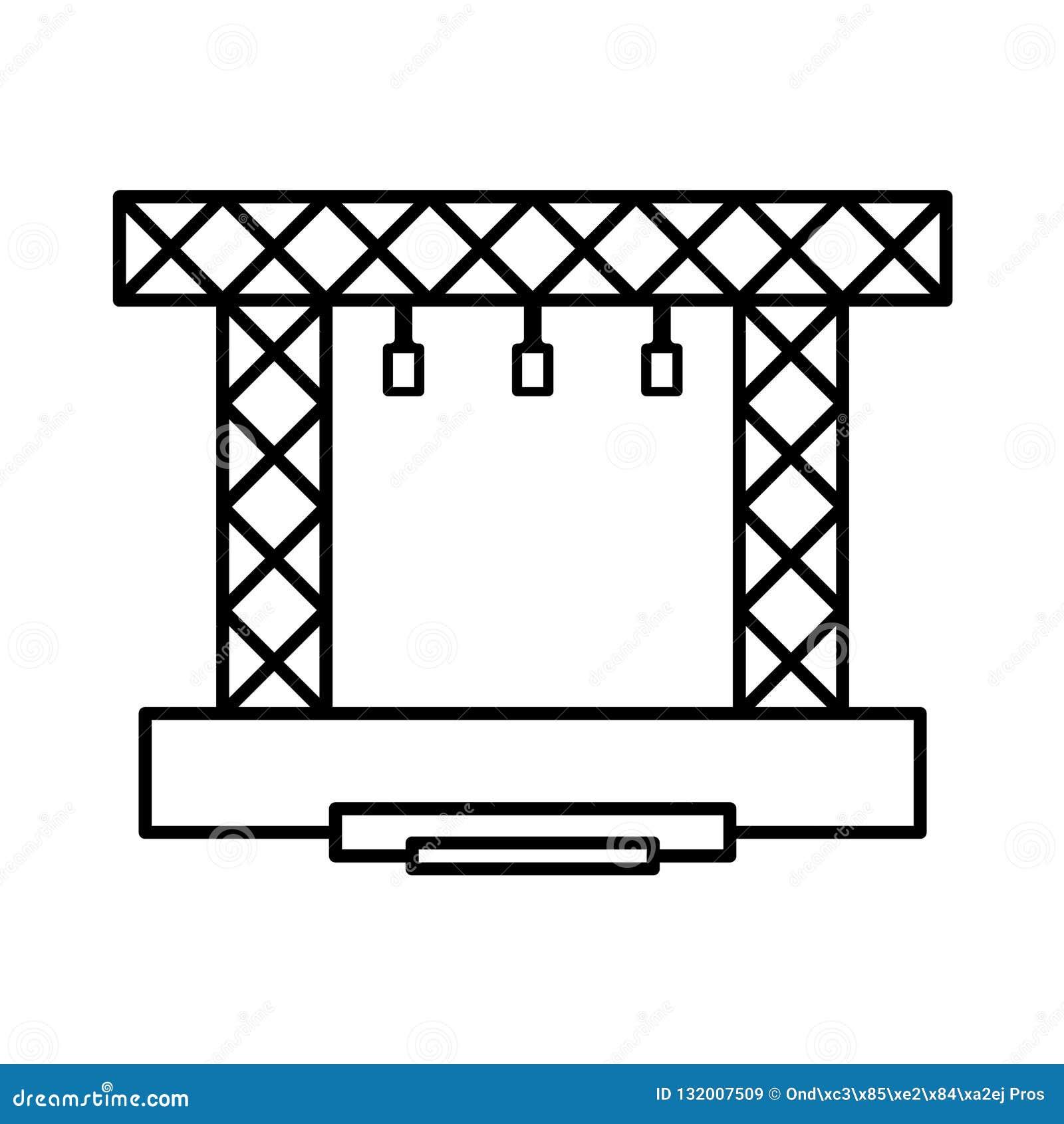 Εικονίδιο σκηνικών διανυσματικό κατασκευών Σύγχρονη γραμμή σκηνής συναυλίας