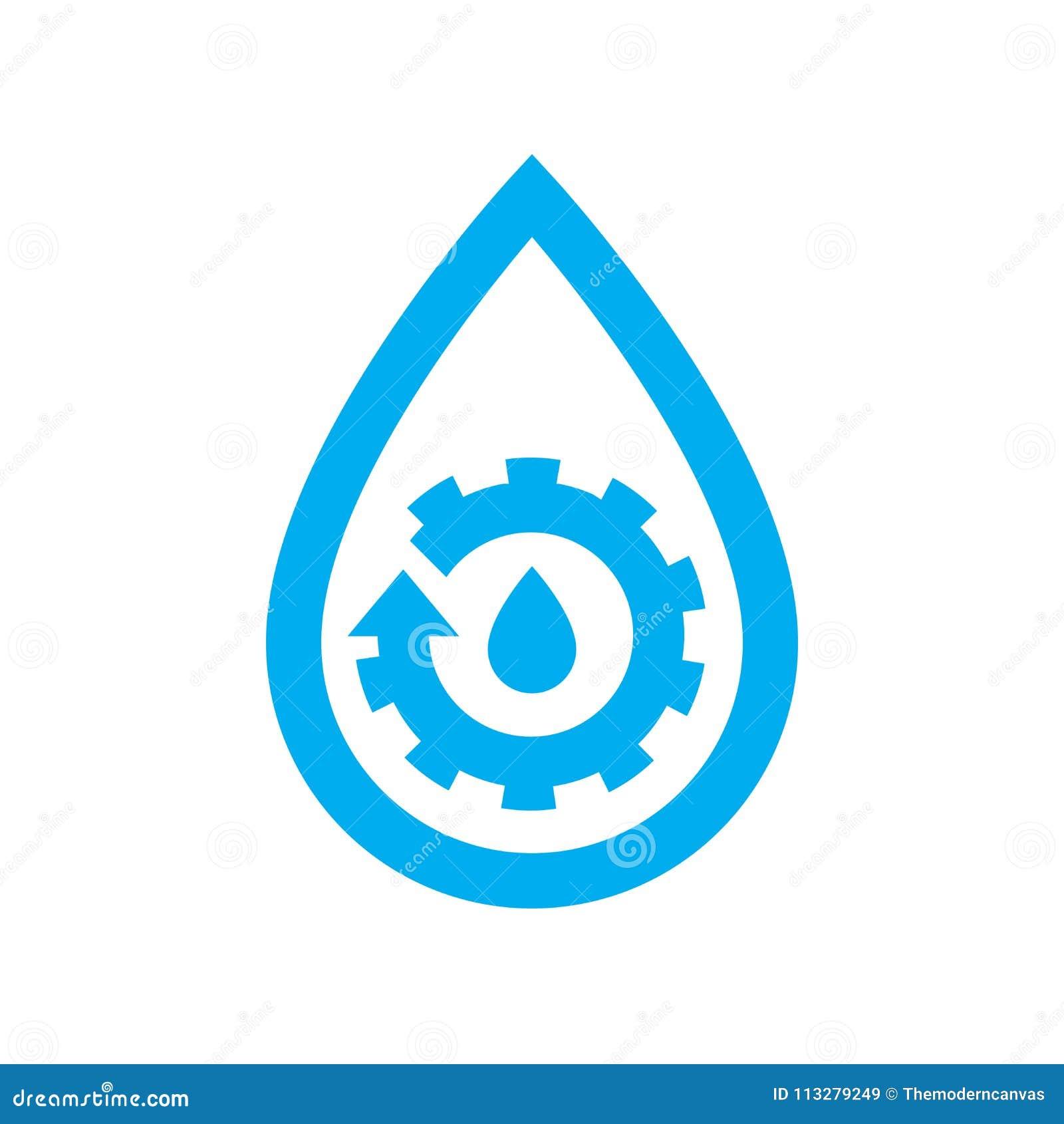 Εικονίδιο συντήρησης υδραυλικών νερού Μπλε βαραίνω εργαλείων στην πτώση νερού sym