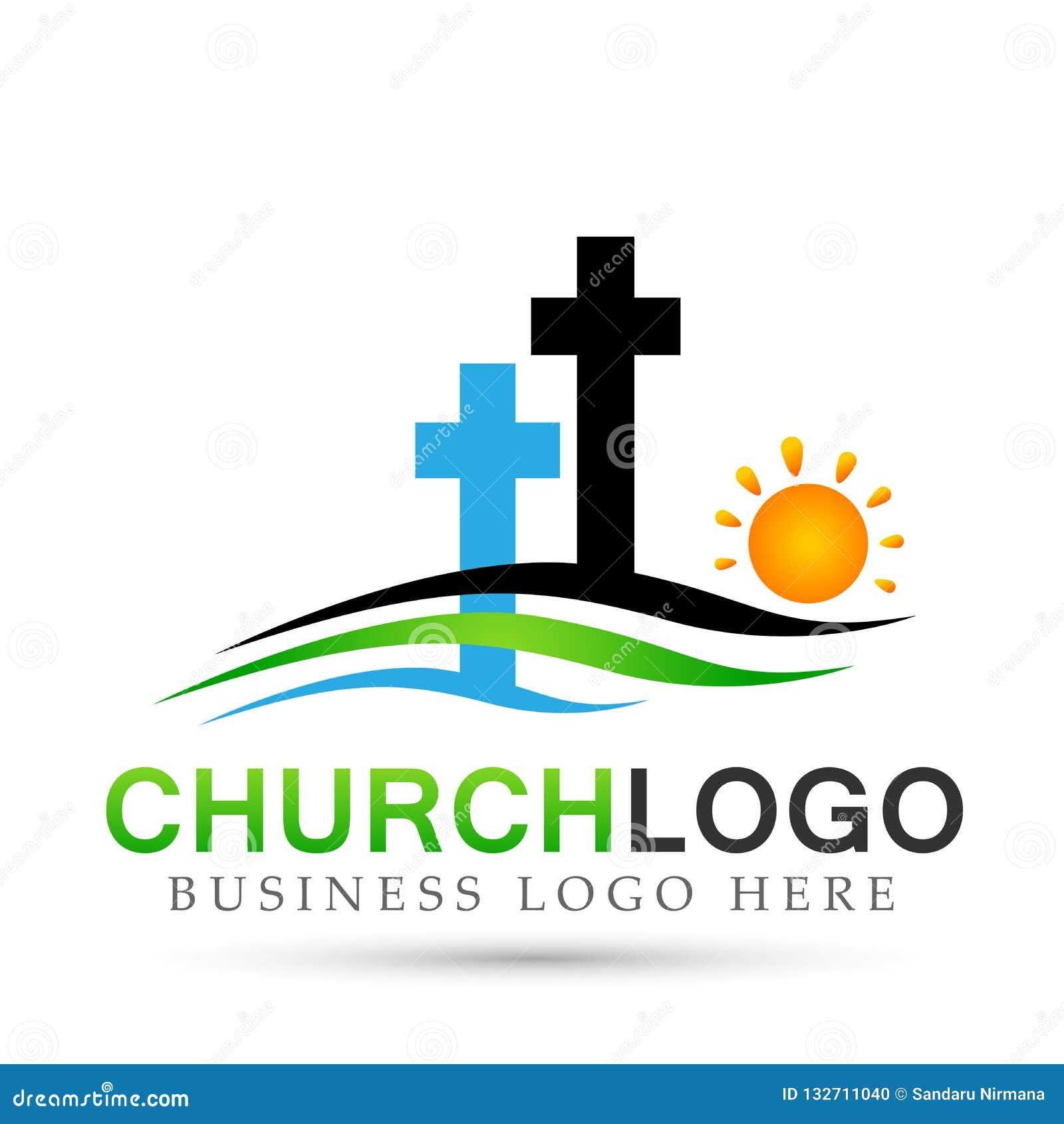 Εικονίδιο σχεδίου λογότυπων αγάπης προσοχής ένωσης ανθρώπων εκκλησιών πόλεων παραλιών ήλιων στο άσπρο υπόβαθρο Κλασσικός, αρχαίος