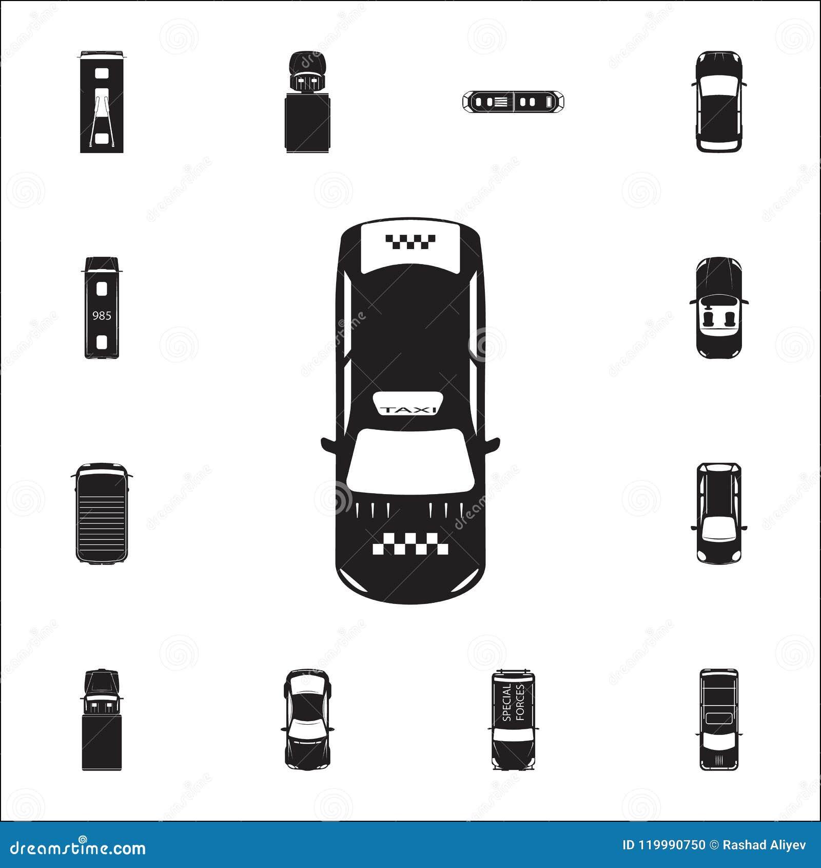 Εικονίδιο ταξί Λεπτομερές σύνολο εικονιδίων άποψης μεταφορών άνωθεν Γραφικό σημάδι σχεδίου εξαιρετικής ποιότητας Ένα από τα εικον