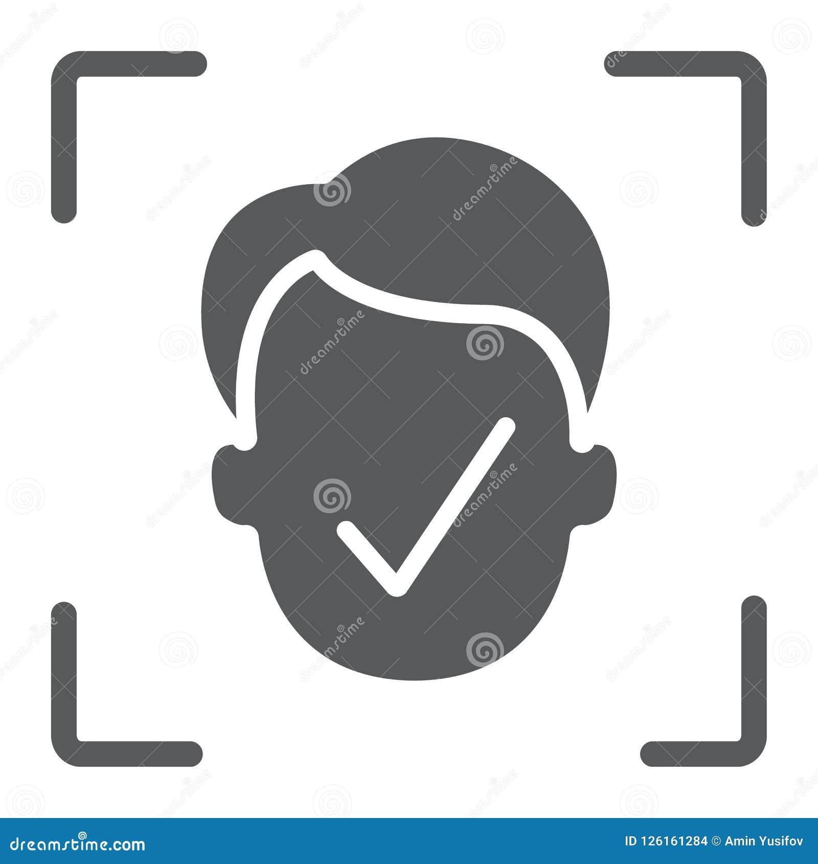 Εικονίδιο ταυτότητας προσώπου glyph, αναγνώριση προσώπου