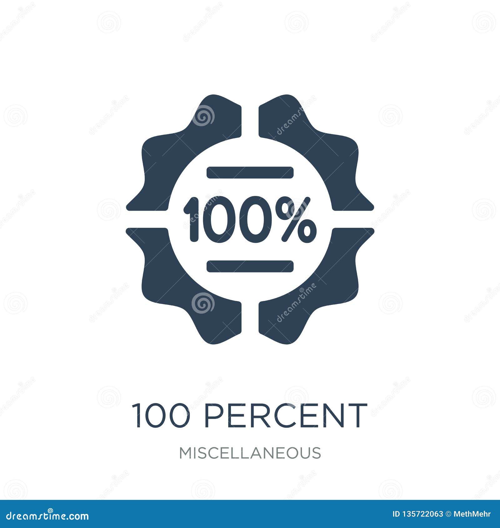 εικονίδιο 100 τοις εκατό στο καθιερώνον τη μόδα ύφος σχεδίου εικονίδιο 100 τοις εκατό που απομονώνεται στο άσπρο υπόβαθρο διανυσμ