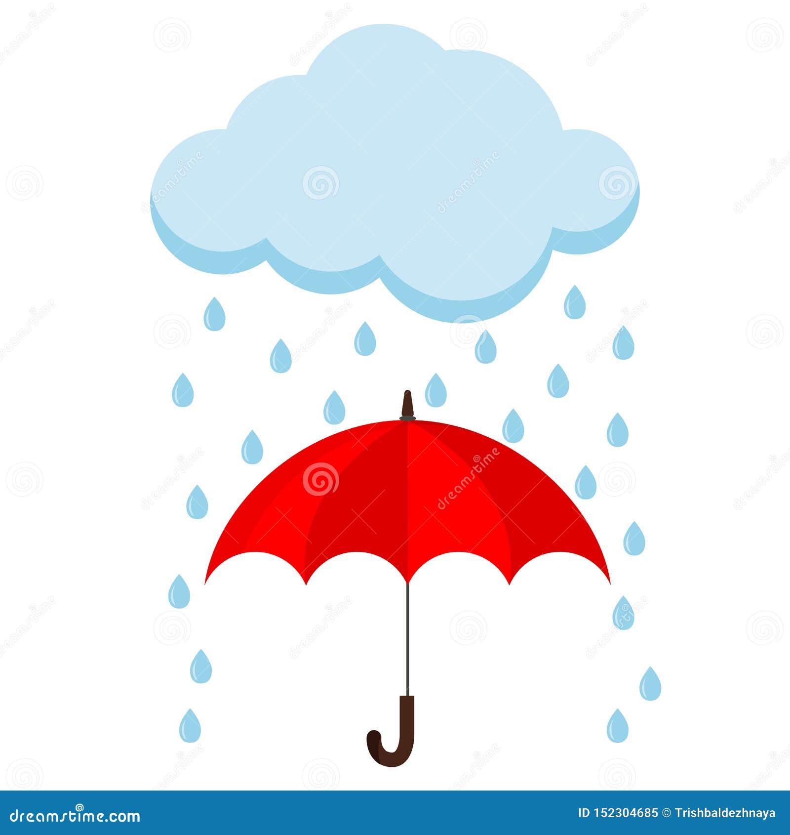 Εικονίδιο του σύννεφου, της βροχής και του ανοιγμένου κόκκινου καλάμου ομπρελών στη βροχή