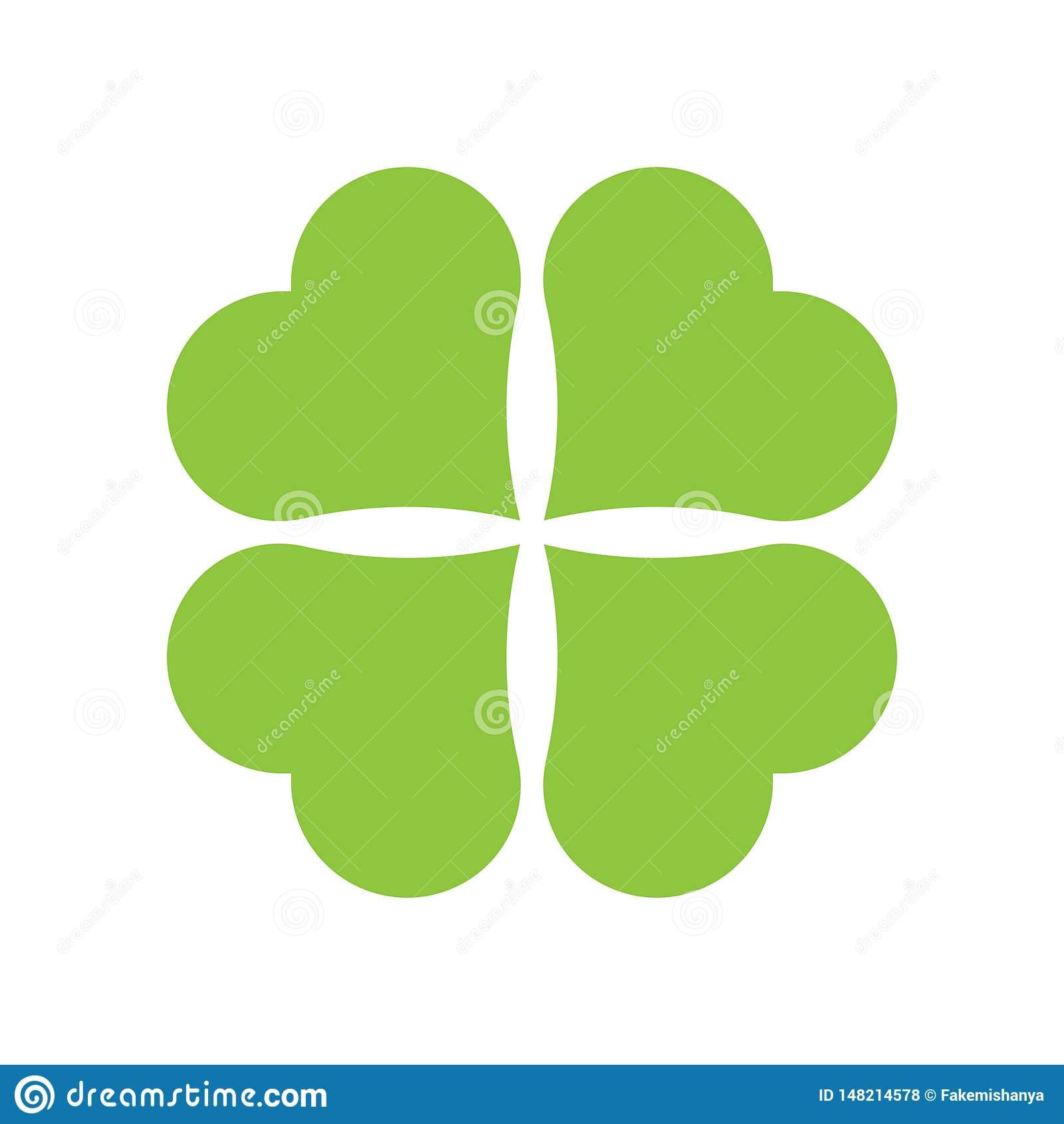 Εικονίδιο τριφυλλιού τεσσάρων φύλλων Πράσινο εικονίδιο που απομονώνεται στο άσπρο υπόβαθρο Απλό εικονίδιο r