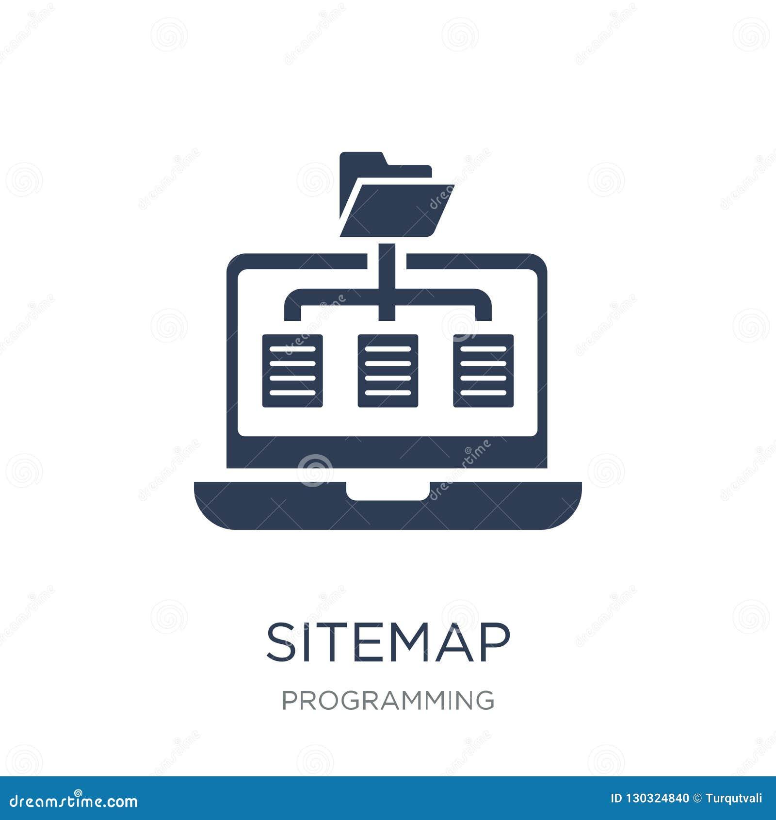 Εικονίδιο Sitemap Καθιερώνον τη μόδα επίπεδο διανυσματικό εικονίδιο Sitemap στο άσπρο backgroun
