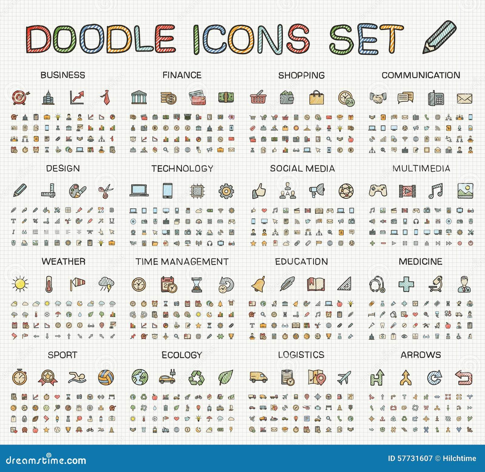 Εικονίδια γραμμών σχεδίων χεριών Διανυσματικό σύνολο εικονογραμμάτων doodle