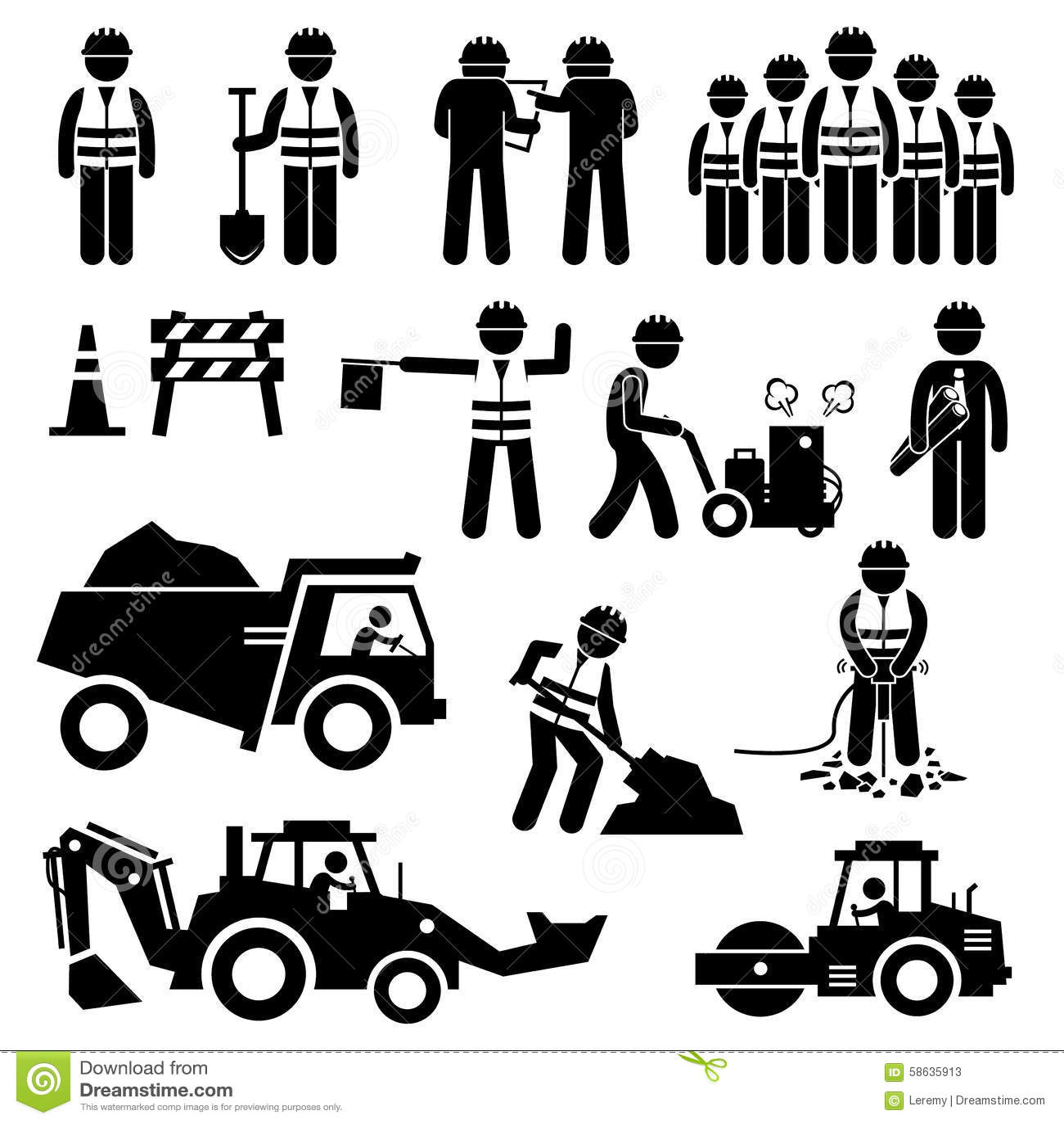 Εικονίδια εικονογραμμάτων αριθμού ραβδιών εργαζομένων οδοποιίας