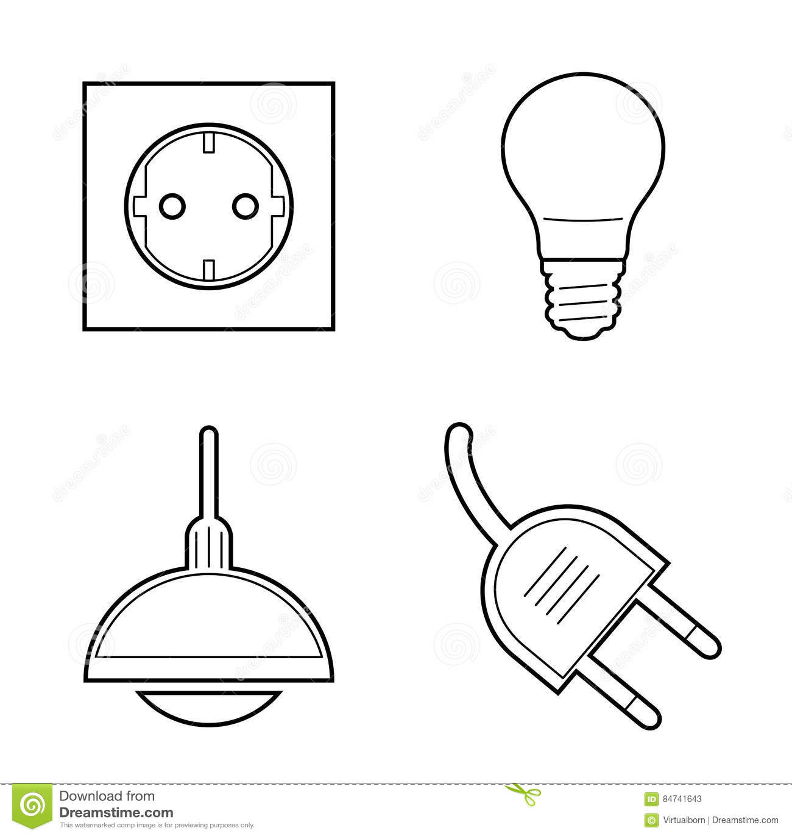 Εικονίδια ηλεκτρικής ενέργειας τέχνης γραμμών καθορισμένα