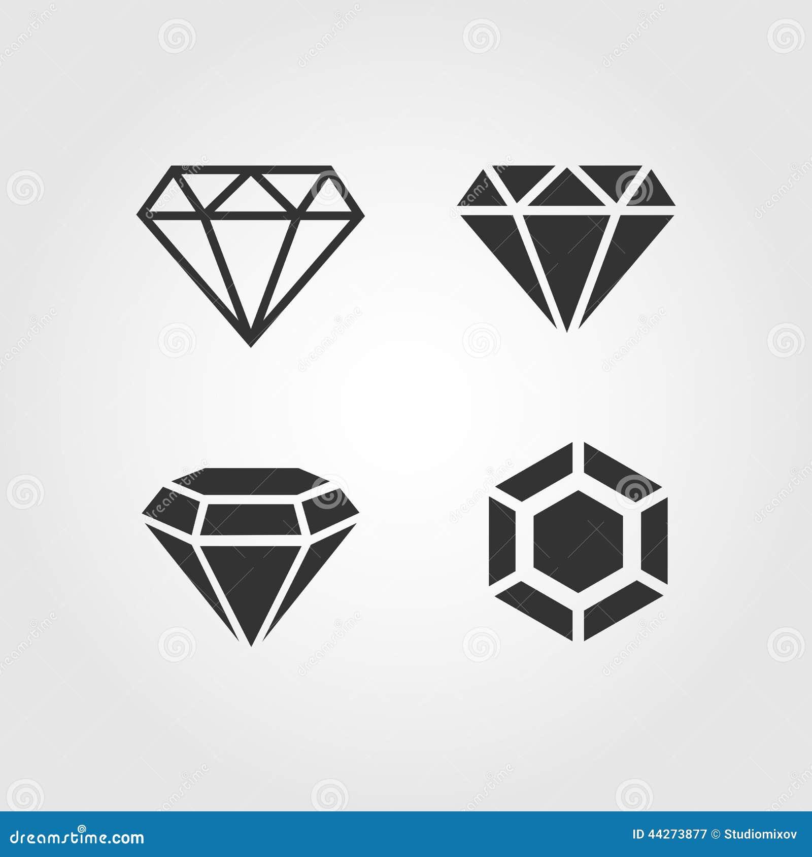 Εικονίδια διαμαντιών καθορισμένα, επίπεδο σχέδιο