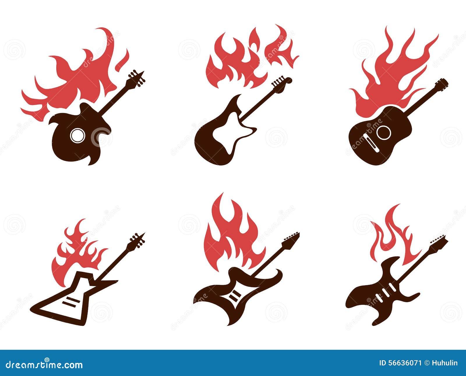 Εικονίδια κιθάρων πυρκαγιάς καθορισμένα