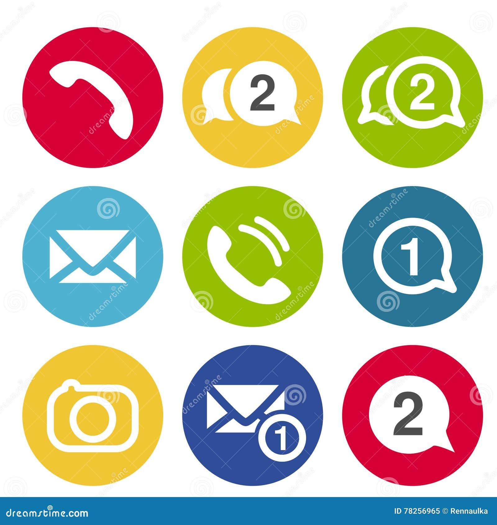 Εικονίδια συνομιλίας επικοινωνίας Κυκλικά κουμπιά για τη συνομιλία ή το φόρουμ με το σύμβολο ακουστικών, καμερών, μηνυμάτων και φ