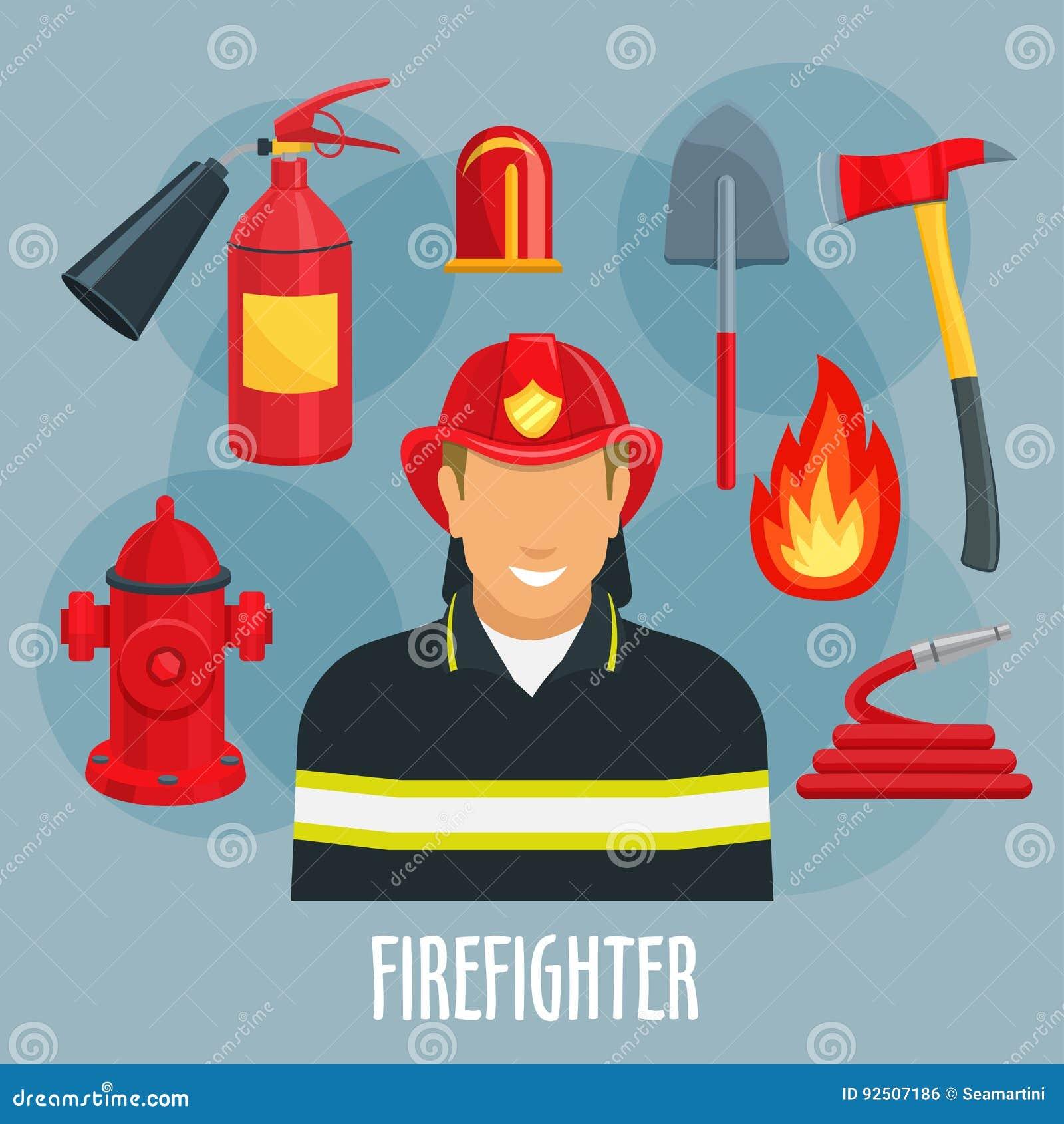 Εικονίδιο επαγγέλματος πυροσβεστών του πυροσβέστη σε ομοιόμορφο