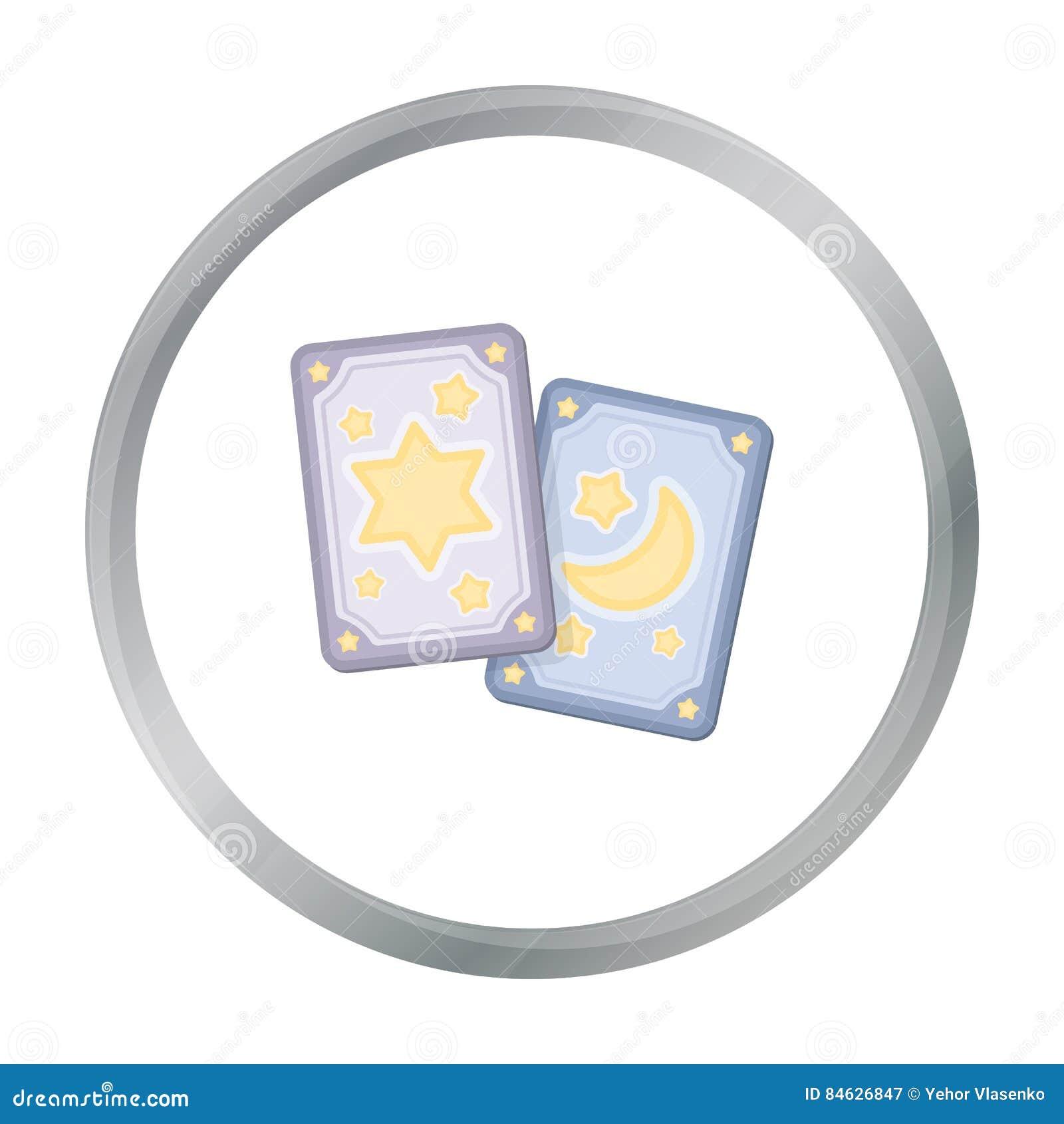 Εικονίδιο καρτών Tarot στο ύφος κινούμενων σχεδίων που απομονώνεται στο άσπρο υπόβαθρο Γραπτή μαγική διανυσματική απεικόνιση αποθ
