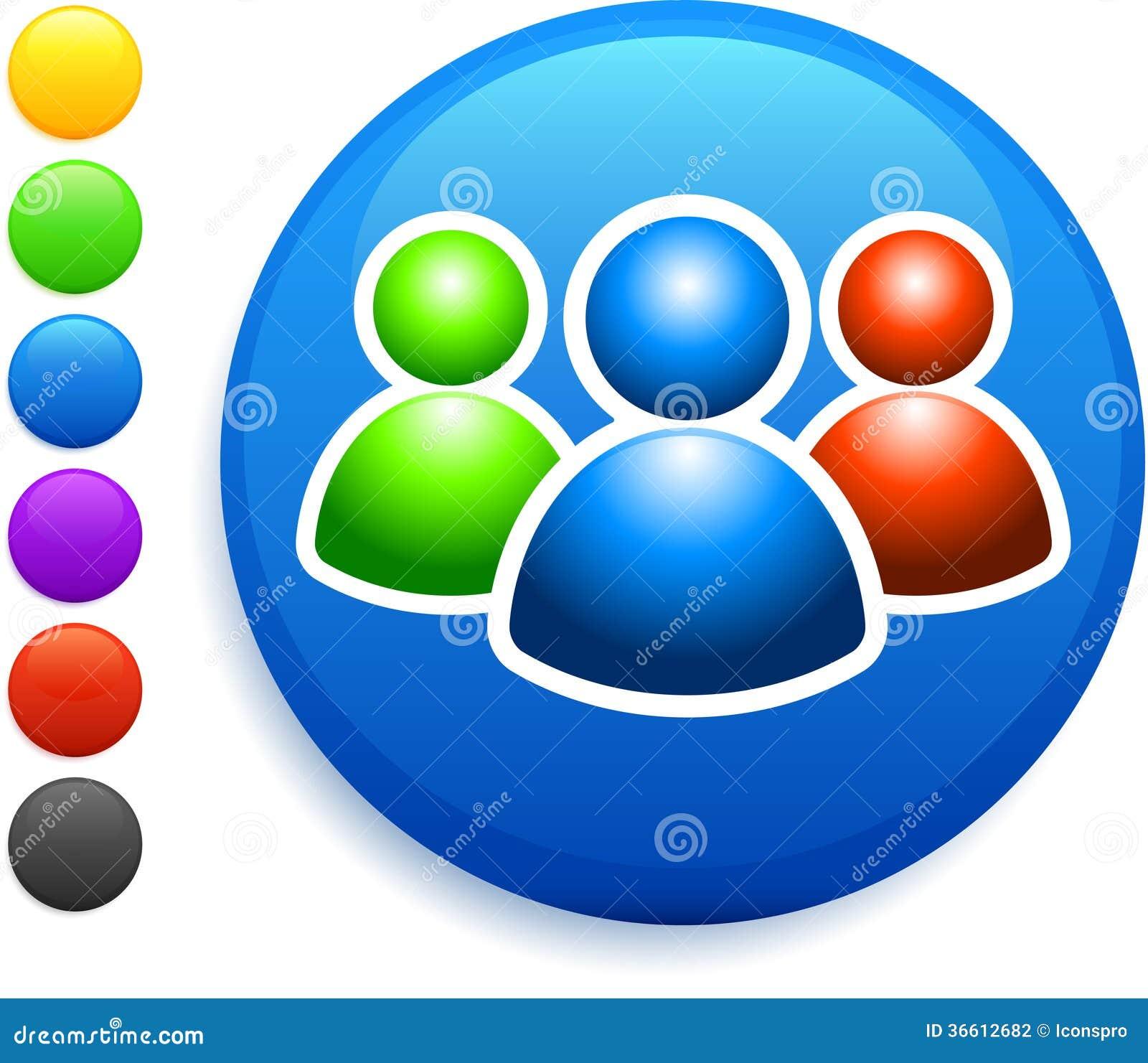 Εικονίδιο ομάδας χρηστών στο στρογγυλό κουμπί Διαδικτύου