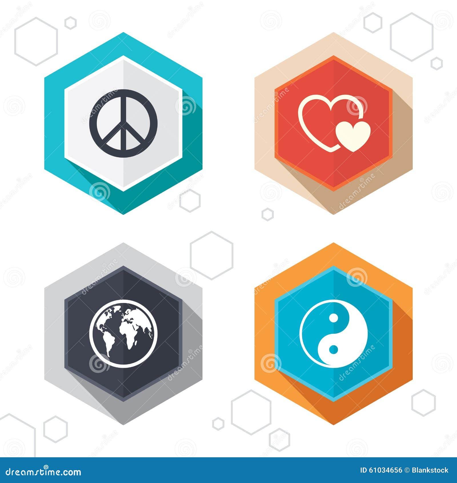 Εικονίδιο παγκόσμιων σφαιρών σημάδι yang ying Αγάπη καρδιών