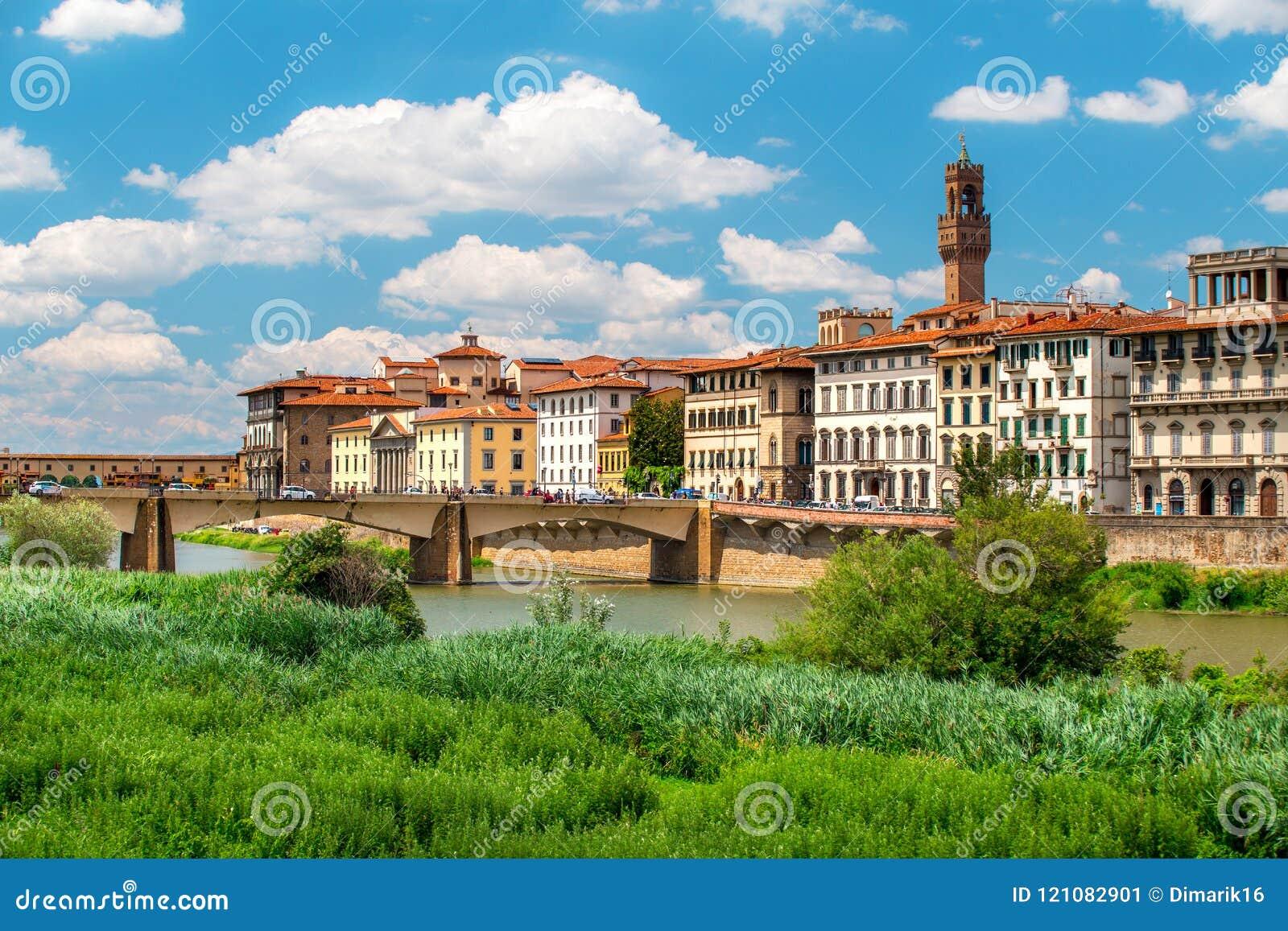 Εικονική παράσταση πόλης της Φλωρεντίας με τον ποταμό Arno