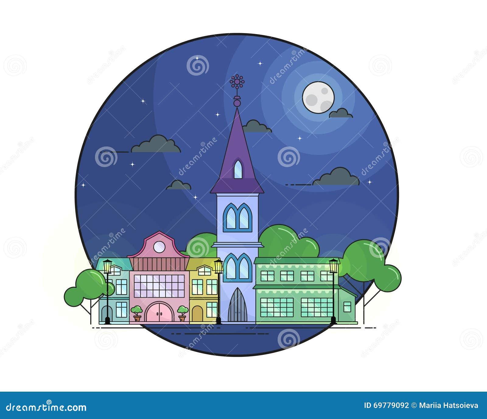 Εικονική παράσταση πόλης νύχτας στο ύφος τέχνης γραμμών με το φεγγάρι, strars, τα δέντρα και τα κτήρια