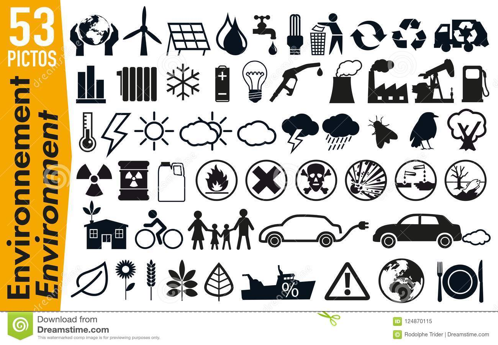 53 εικονογράμματα συστημάτων σηματοδότησης στο περιβάλλον και την οικολογία