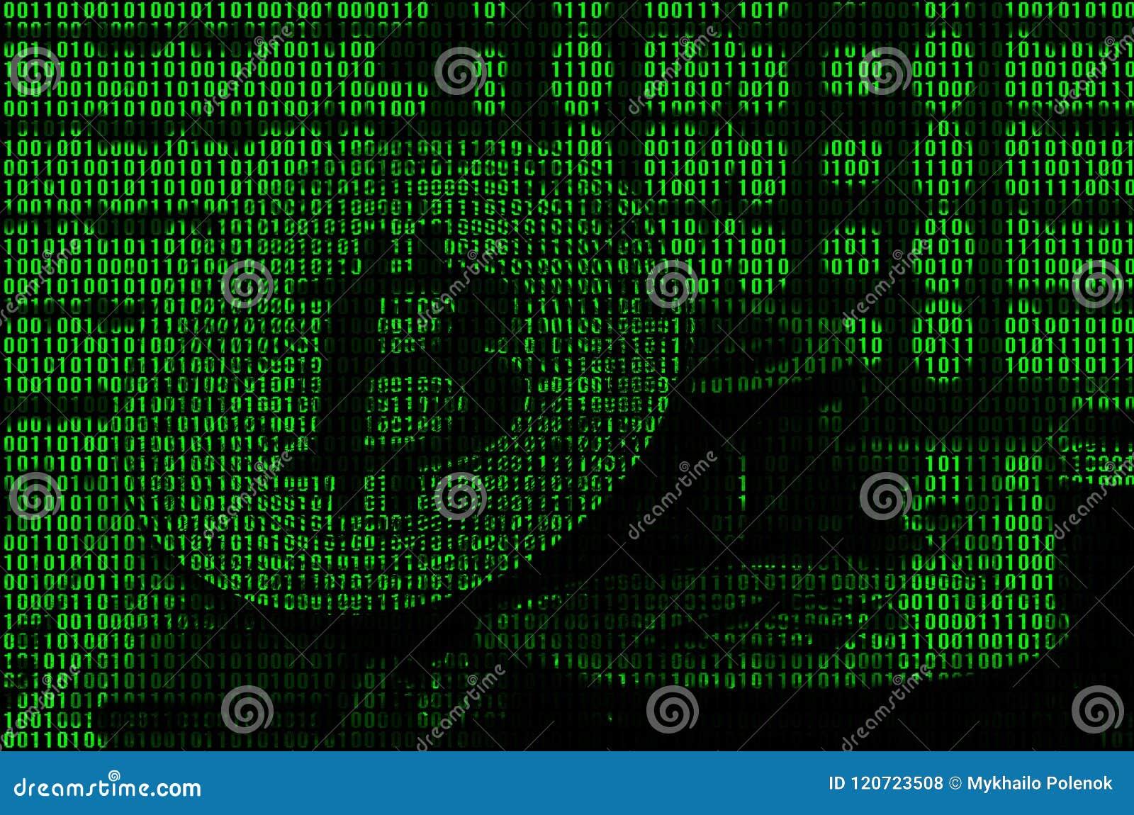 Εικόνα του δυαδικού κώδικα από τα βεραμάν ψηφία, μέσω των οποίων η εικόνα του φυσικού bitcoin