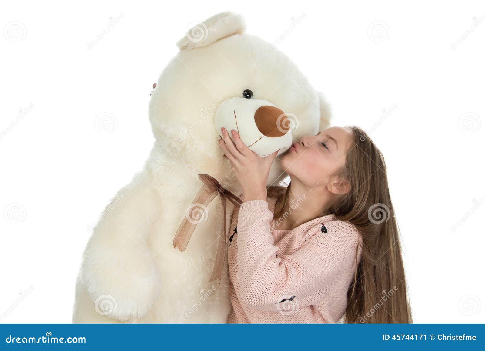 Εικόνα του ευτυχούς έφηβη με τη teddy αρκούδα