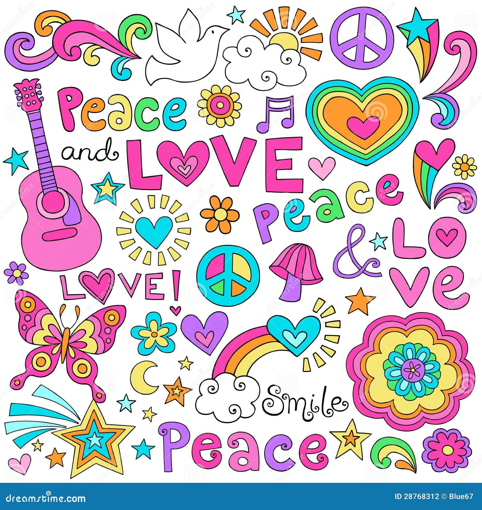 Ειρήνη, αγάπη, & διανυσματικό σύνολο Doodles σημειωματάριων μουσικής