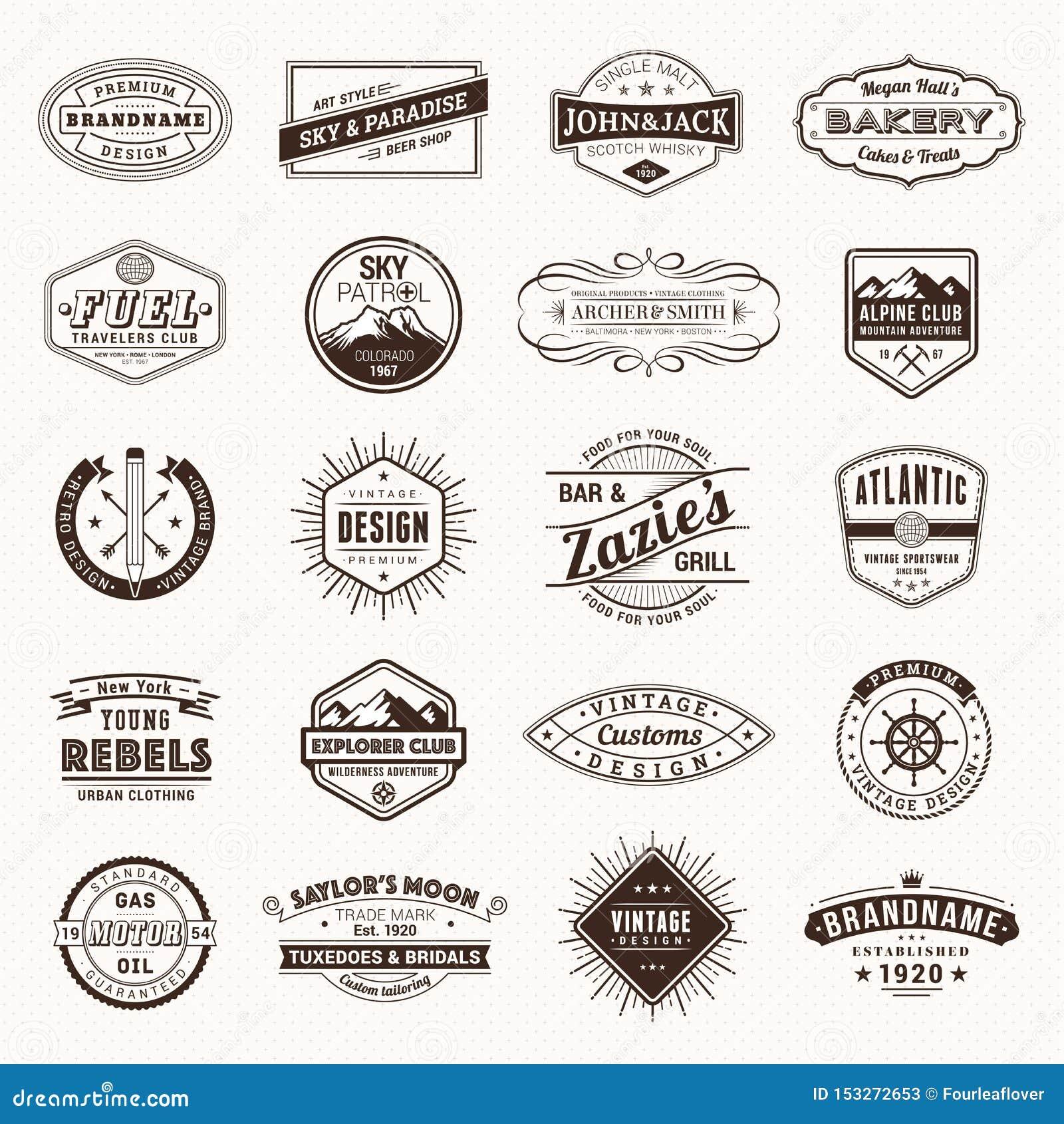 Εκλεκτής ποιότητας αναδρομικό διάνυσμα ετικετών λογότυπων