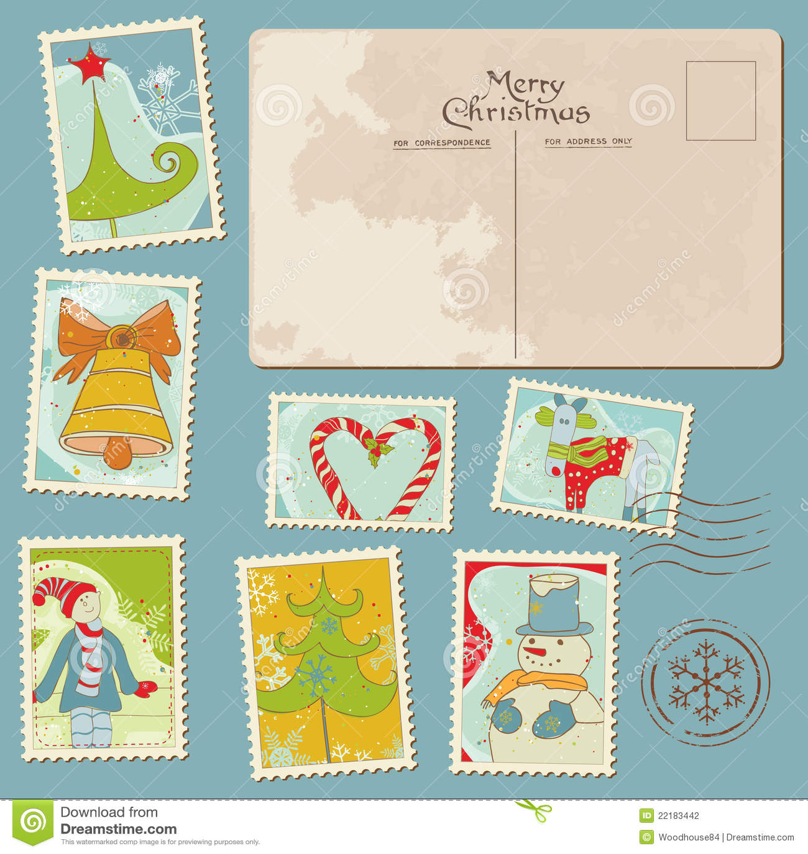 Εκλεκτής ποιότητας γραμματόσημα και κάρτα Χριστουγέννων