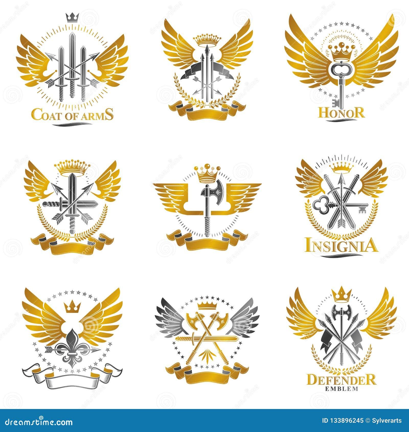 Εκλεκτής ποιότητας εμβλήματα όπλων καθορισμένα Εραλδική συλλογή απεικονίσεων καλύψεων των όπλων διακοσμητική απομονωμένη εμβλήματ