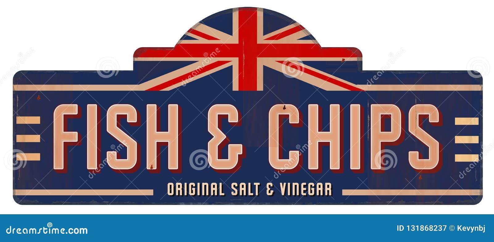 Εκλεκτής ποιότητας μέταλλο αγγλικό βρετανικό Λονδίνο κασσίτερου σημαδιών ψαριών και τσιπ