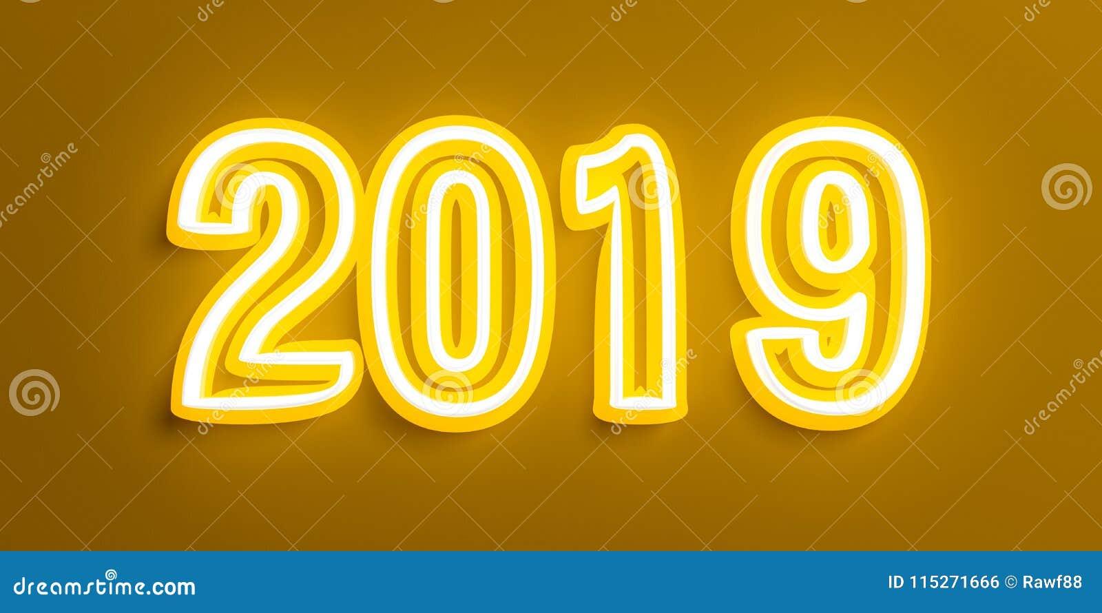 Εκλεκτής ποιότητας νέο έτος 2019 με τα κίτρινα άσπρα ψηφία στο καφετί υπόβαθρο τρισδιάστατη απεικόνιση