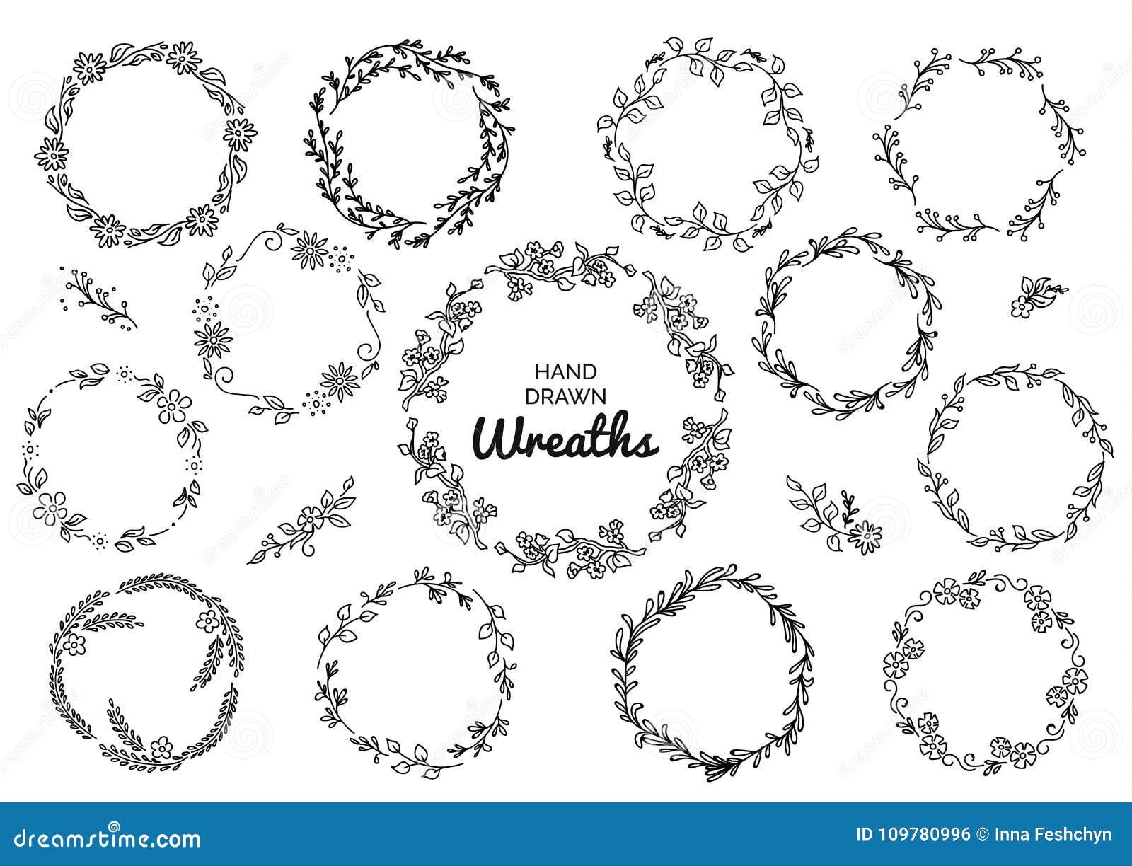 Εκλεκτής ποιότητας σύνολο συρμένων χέρι αγροτικών στεφανιών Floral διανυσματικός γραφικός στο λευκό πίνακα Στοιχεία σχεδίου φύσης