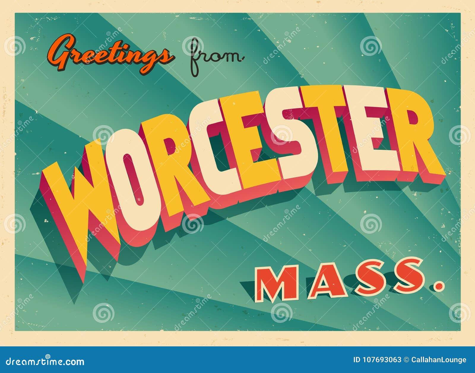 Εκλεκτής ποιότητας τουριστική ευχετήρια κάρτα από το Worcester, Μασαχουσέτη