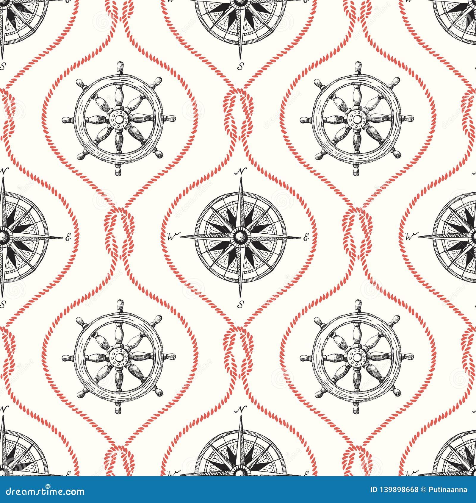 Εκλεκτής ποιότητας Hand-Drawn διανυσματικό άνευ ραφής σχέδιο Ogee σχοινιών με το τιμόνι, την πυξίδα και το ναυτικό κόμβο σκοπέλων