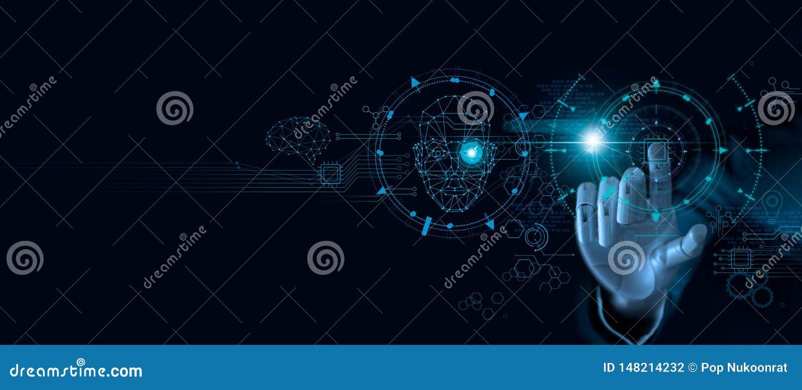 Εκμάθηση μηχανών Χέρι του ρομπότ που αγγίζει στο τσιπ υπολογιστή και τα δυαδικά στοιχεία Φουτουριστική τεχνητή νοημοσύνη AI