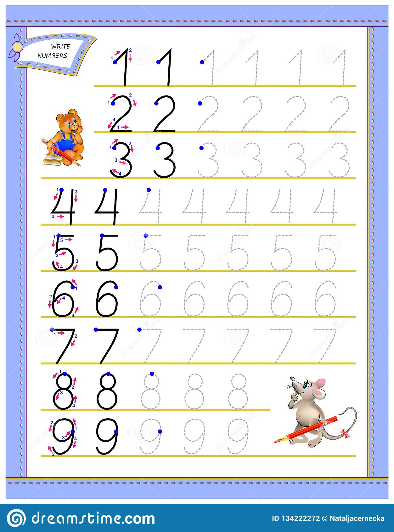 Εκπαιδευτική σελίδα για τα παιδιά στους αριθμούς γραψίματος μελέτης Φύλλο εργασίας για το εγχειρίδιο παιδιών Ανάπτυξη των δεξιοτή