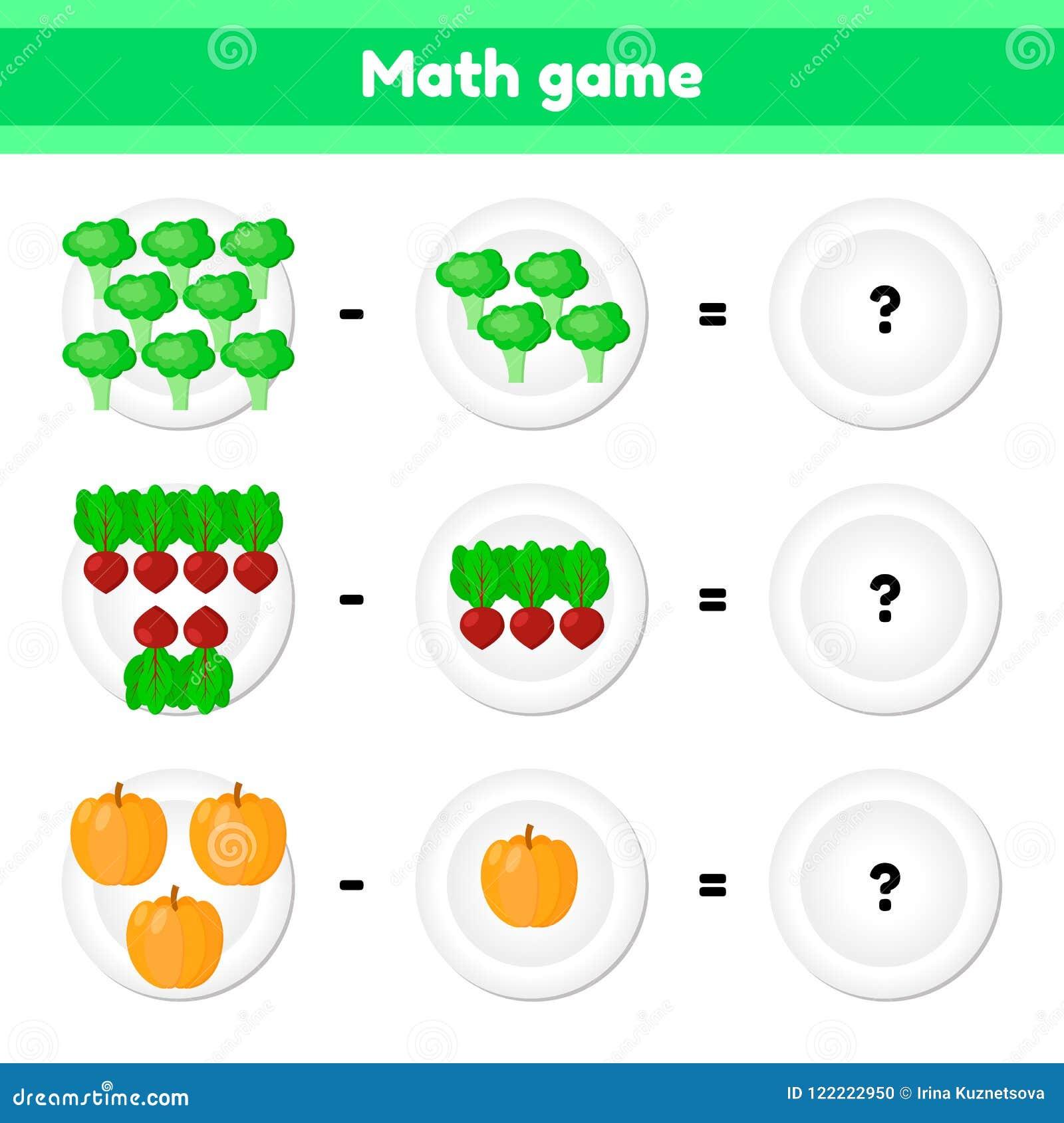Εκπαιδευτικός ένα μαθηματικό παιχνίδι Στόχος λογικής για τα παιδιά αφαίρεση Λαχανικά Μπρόκολο, τεύτλα, κολοκύθα