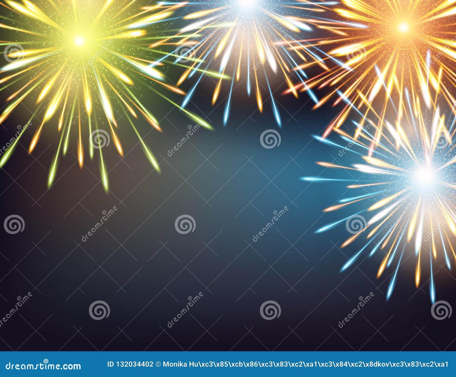 Εκρήξεις πυροτεχνημάτων το πλαίσιο σε μια ευχετήρια κάρτα στην καλή χρονιά